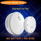 Custom-Made Battery Free Wireless Round White Animal Bell Novelty Dog Doorbell