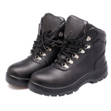 Black Embossed Leather Work Safety Boots