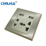 Top Sales 2 Gang Wall Socket with USB Socket