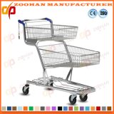 Wire Metal Grocery Double Basket Supermarket Shopping Cart Trolley (Zht165)
