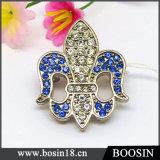 Custom Alloy Rhinestones Fleur De Lis Brooch Jewelry