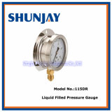 Liquid Filled Pressure Gauge with Bottom Back and Flange Connection