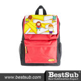 Sublimation Kids School Bag (Black w/ Red Pocket)