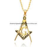 316 L Stainless Steel Men Gold Color Hip Hop Masonic Pendant Necklace with 60cm Cuban Link Chain Necklaces