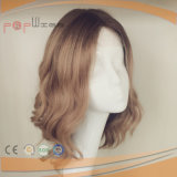 Two Tone Color Dark Roots Natural White Skin Silk Top Jewish Wig