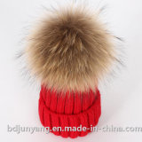 Knitted Pure Cashmere Raccoon Fur Pompom Beanie Hats
