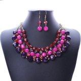 Fashion Crystal Beads Choker Statement Necklace Set Jewelry