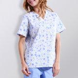Stylish 100% Cotton Short Sleeve Printed Hospital Scrubs Uniform