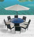 Outdoor Rattan Furniture for Dining Room with Parasol (JAVA 8)