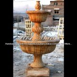 Self Contained Golden Travertine Fountain for Gift Mf-574