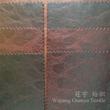 Home Textile Sofa Fabric 100% Polyester Faux Leather with Bronzing Treatment