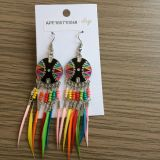 Colourful Feathers Fabric Metal Earrings with Feathers Fashion Jewelry