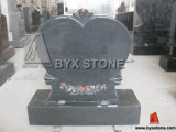 Heart Shape Monument / Tombstone with Flower Etching