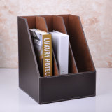 A4 Brown PU Leather File Holder Box with 3 Dividers