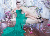 Sexy Long and Short in Front Green Chiffon Evening Dress