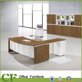 Melamine L Shape Manager Table with Metal Perforated Modesty Panel