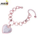 Big Heart Charm Fashion Jewelry Stainless Steel Bracelet with Diamond