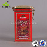 Square Emobossed Metal Tea Tin with Lock for Coffee and Tea