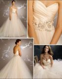 Champagne Tulle Bridal Ball Gown Flowers Ribbon Wedding Dress W1471946
