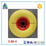 "10"" PU Wheel 4.10 / 3.00 - 4 off Set 16mm Bearing Puncture Proof for Wheelbarrow Hand Trolley"