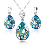 High Quality Enamel White Gold Plated Women Jewelry Set