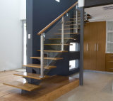 Interior Staircase Glass Railing with Solid Wood Handrail