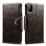 Retro Button PU Mobile Phone Wallet Case for iPhone X