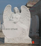 White Marble Angel Sculpture with Heart Monuments for Cemetery