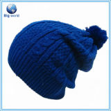 Wholesale Winter Cheap Fashion Blue Hat/Caps Custom Design, Woolly Hat Dm-005