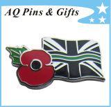 Metal Cloisonne Flag Pin Badge with Red Poppy Charity Awareness Pin (badge-116)