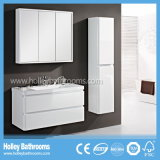 The Latest High-Gloss Paint MDF Board Two Curved Drawers Large Mirror Cabinet Bathroom Sets (BF126C)