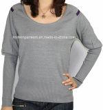 Women Fashion Sales V Neck Long Sleeve Sweater Clothing (12AW-152)