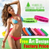 Factory Directly Wholesale Customized Green Silicone Wristband with Printed Logo
