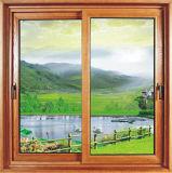 Wood Grain Color Two Layer Glass Aluminium Sliding Window