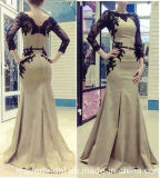 V-Neckline Party Black Lace Satin Mermaid Vestidos Evening Dress Ld15299