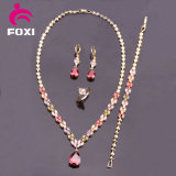 Colorful Dubai Bridal 18k Gold Plated Zirconia Necklace and Earring Dubai Gold Jewelry Set