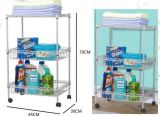2015 Hot Sell 50kgs 30X14 Inch 3 Layer Silver Powder Light Duty Living Room Comer Shelf with Basket and Wheels (YB-WS030)