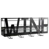 Decorative Wall Mounted Metal Wine Rack with 4 Long Stem Glass Holder