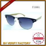 Half Metal Rim Sunglasses with Bamboo Arms Custom Logo (F15001)