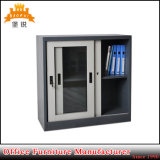 China Factory Direct Sale Cheap 2 Glass Small Metal Bookcase Mini Steel Sliding Glass Door Filing Cabinet