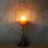 Antique Brass Style Pillar Candle Holder