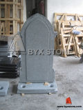 European Gothic Style Granite Roses Carving Tombstone / Headstone