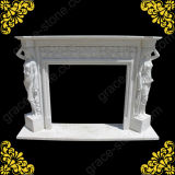 Carved Natural Marble Fireplace Mantel with Statue (GS-AF-001)