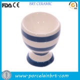 White and Blue Ceramic Cute Small Egg Cup