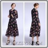 Designer Laides Flower Printed Chiffon Silk Long Sleeve Dress for Summer