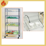 4 Layers Stainless Steel Wire Dish Plate Rack with Wheels