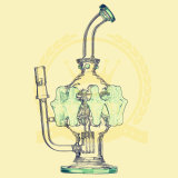 Double Matrix Showerhead Hoeycomb Klein Recycler Pink Skull Egg Recycler Smoking Pipe 14 Male Joint Glass Pipe