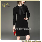 Casual Dress Bow Tie Collar Buttoned Design Office Dresses for Women