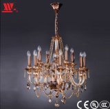 Crystal Chandelier with Amber Glass Decoration
