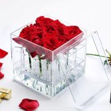 Waterproof Customized Acrylic Flower Box Roses Box with Chocolate Drawer